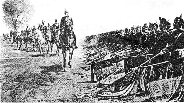 Kaiser Wilhelm I during a victory parade at Tempelhofer Feld following the Franco-German war 1870/71