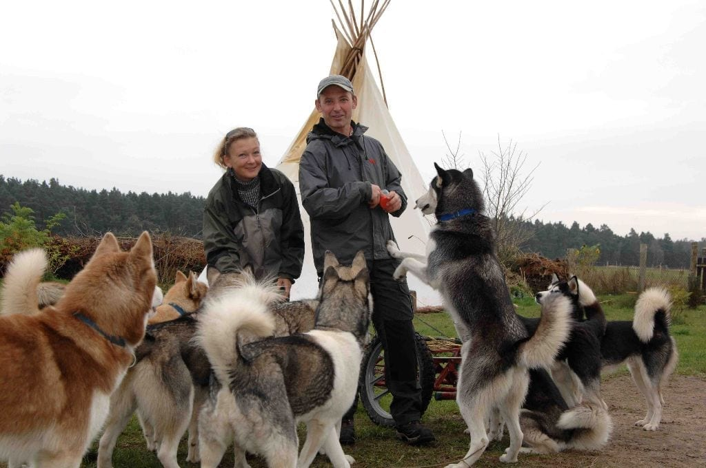 Elmar, Sabine and the Huskies