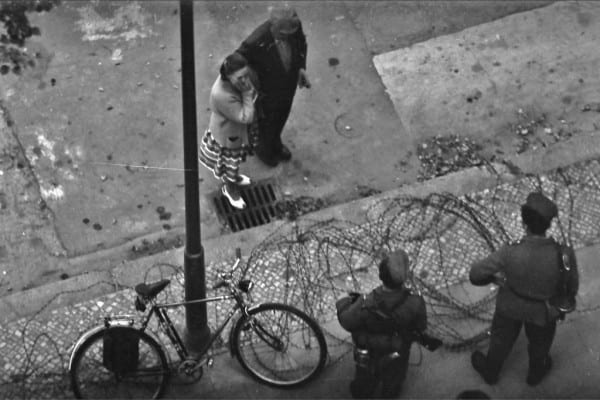 The logs were quickly replaced by barbed wire; Herr Neumann's bicycle was suddenly caught between East and West.(Photo by Herbert Neumann)
