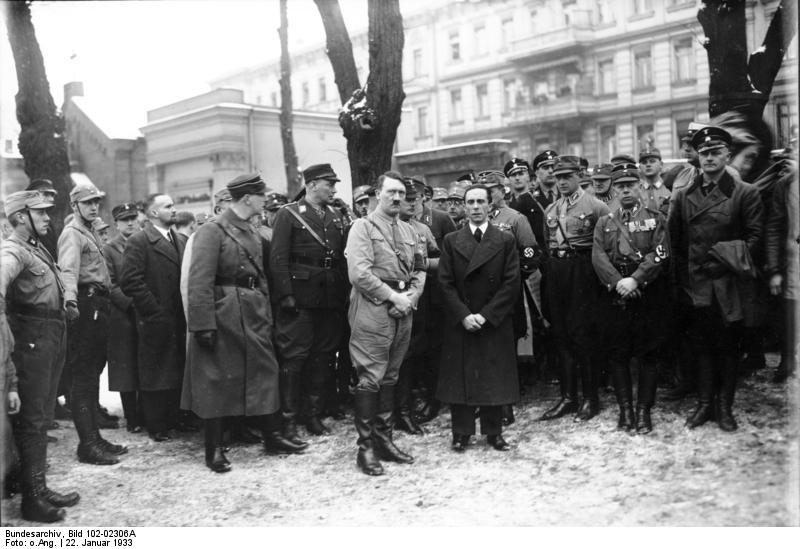 Adolf Hitler and Joseph Goebbels at Horst Wessel's grave at the St. Nicholas Cemetery in Berlin Mitte. 1933.